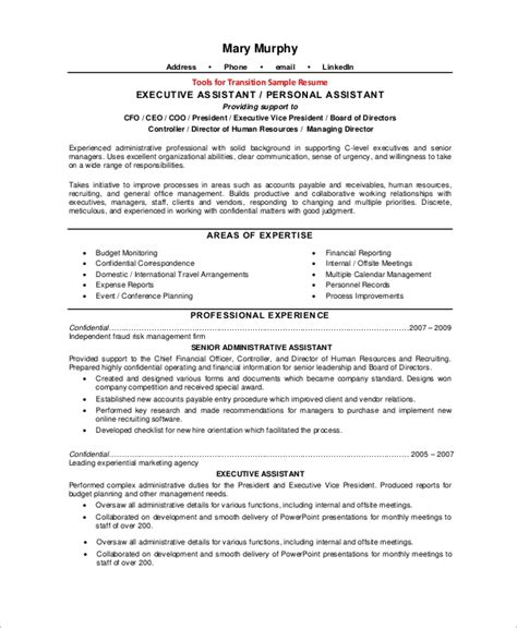 Sle Of Executive Assistant Resume by Sle Executive Resume 10 Exles In Word Pdf