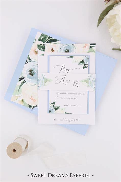 dusty blue wedding printable wedding invitation set