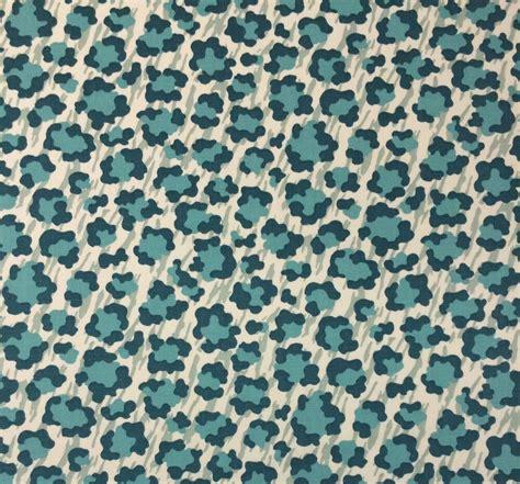 Animal Print Upholstery Fabric By The Yard by P Kaufmann Simba Palm Teal Blue Animal Leopard Print