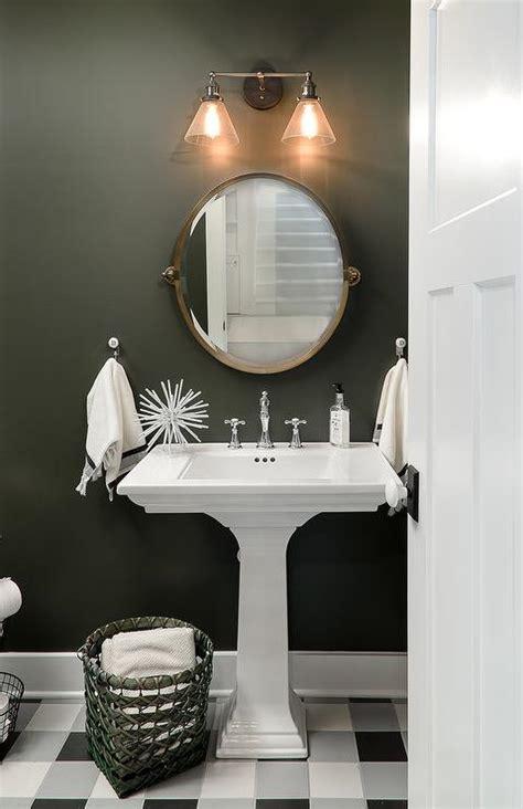 black  white plaid floor tiles transitional bathroom
