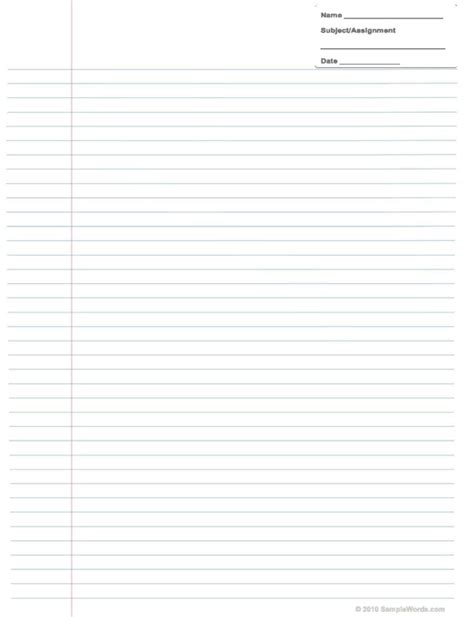 notebook paper template microsoft word