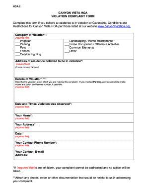 fillable  canyonvistahoa  violation complaint form