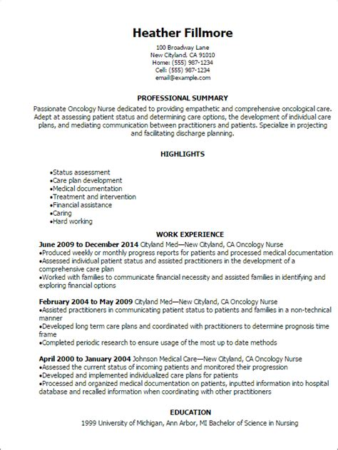 exle of rn resume 1 oncology resume templates try them now