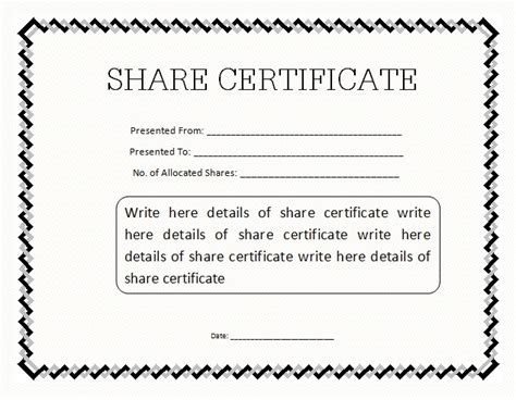share certificate templates  word templates