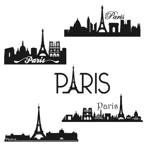 paris france skyline svg cuttable design