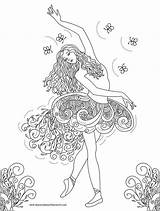 Coloring Ballerina Fairy Ballet Adults Printable Barbie Adult Dance Shortcake Strawberry Dancing Dancer Belly Colouring Princess Sheets sketch template