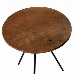 Design beistelltisch couchtisch tisch teakholz eisen holz for Teak tisch rund