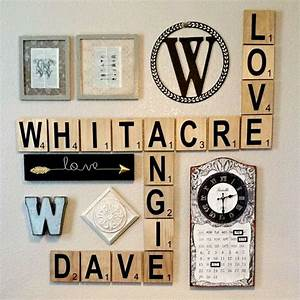 large scrabble tile wall art original rustic stain With scrabble letters home decor