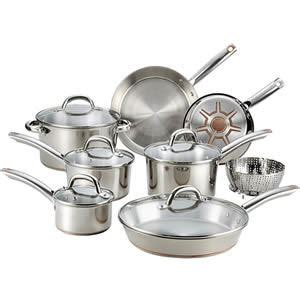 fal csd ultimate stainless steel copper bottom  pc cookware set