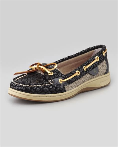Leopard Boat Shoes by Sperry Top Sider Angelfish Leopard Embossed Boat Shoe Black