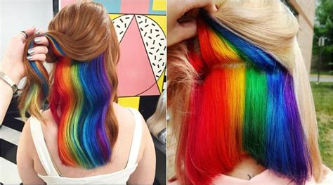 This Chic And Mysterious Hidden Rainbow Hair Is Taking