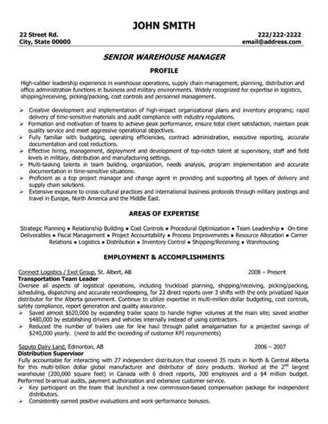 Best Resume Format For Operation Manager by Warehouse Operations Manager Resume The Best Letter Sle