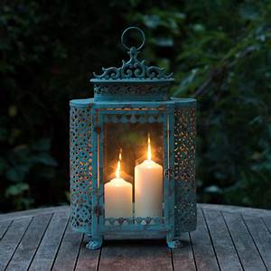 Antique Style Large Blue French Garden Candle Lantern for ...