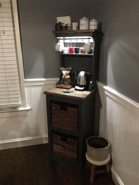 A coffee station can be as simple as a small cart on wheels, and that's all it takes. 32 Lovely Apartment Small Kitchen Bar Design Ideas To Copy Asap in 2020   Coffee bar home ...