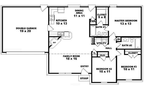 3 floor plans 3 bedroom one house plans bedroom 3