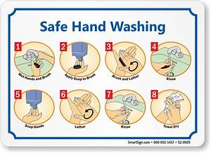 Safe Hand Washing Instruction Steps Sign  Sku  S2