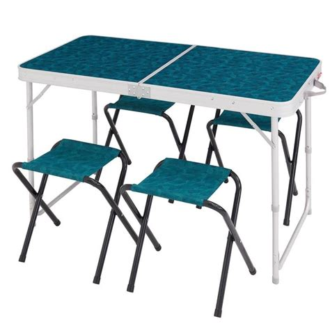 table cing pliante avec siege table pliante 4 pers 4 sièges decathlon