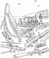Coloring Viking Ship Building Vikings Boat Pages Colouring Printable Ships Activities Longship Realistic Drakkar Hard Traditional Plans Norse Adults Shipyard sketch template