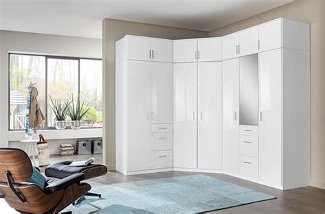 armoire pour chambre à coucher armoire d 39 angle clack blanc portes miroirs