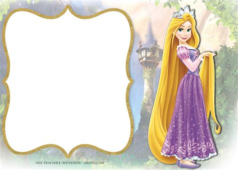 printable princess rapunzel invitation templates