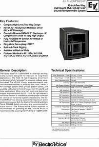 Electro Voice Xi 1122mha 64f Users Manual Fri 122 4pg