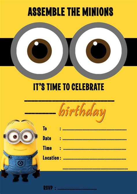 details  despicable  minions party invitations kids