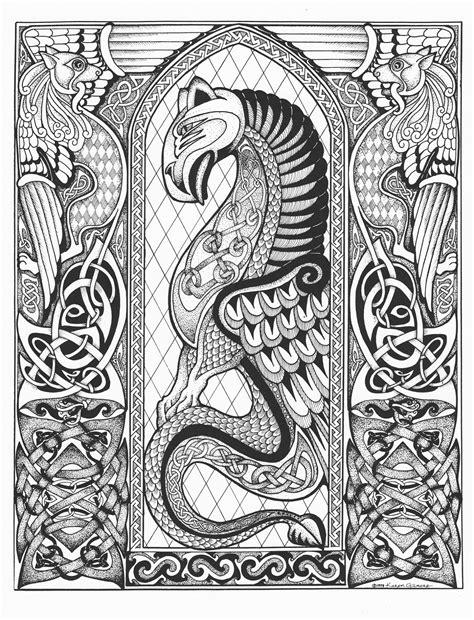 Celtic Dragon (pen & ink, embellished version) | Celtic designs, Celtic art, Black ink art