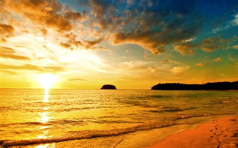 sunset sea beach wallpapers hd wallpapers id