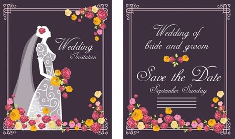 bride weds groom wedding card template wedding card background designs free vector download