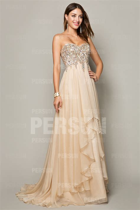 robe de soirée mi longue pour mariage robe longue bustier cœur empire orn 233 e de sequin en tencel