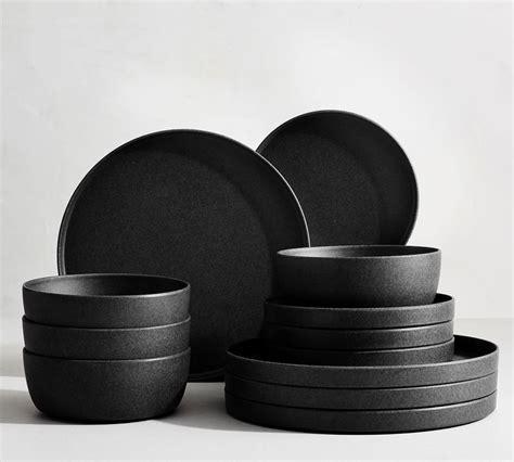 mason edge stoneware dinnerware set charcoal pottery