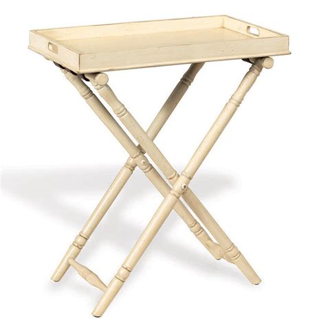 Devon Butler Beach Style Folding Tray Table Ivory   Kathy Kuo Home