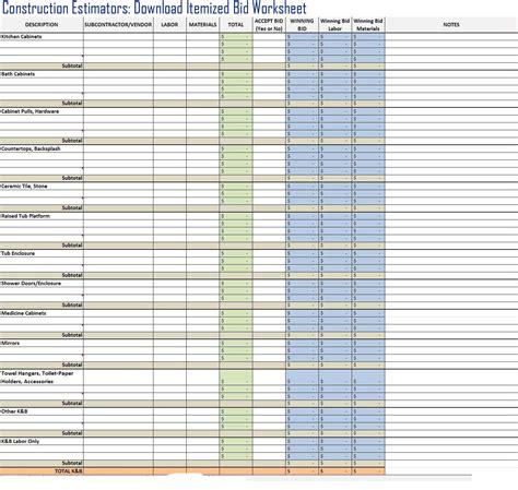 Bid Free Free Itemized Construction Bid Worksheet Template
