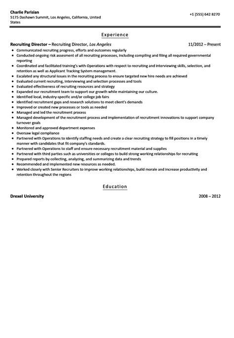 Recruiting Director Resume Sample | Velvet Jobs
