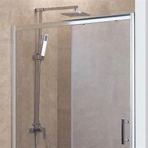 paroi coulissante 6mm nerina 160cm unesalledebain With porte de douche coulissante avec spot led meuble salle de bain
