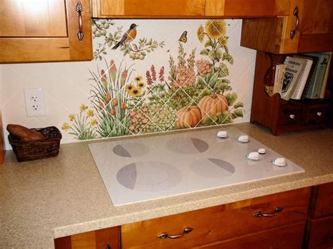 kitchen tile backsplash murals quot espinosa 39 s flower garden quot diagonal kitchen backsplash