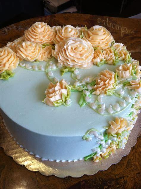 Light Blue And Peach Buttercream Flower Cake My Cakes