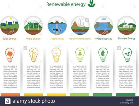 Renewable Energy Types. Power Plant Icons Vector Set