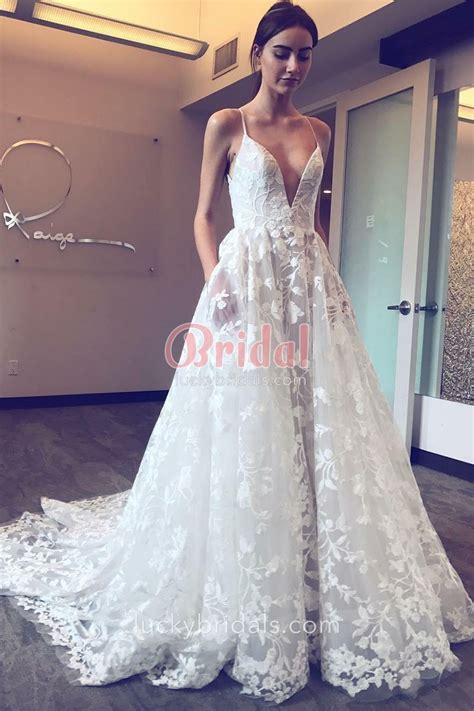 Floral Lace Appliques Sexy Plunging V neckline Spaghetti Straps White Wedding Dress   LuckyBridals
