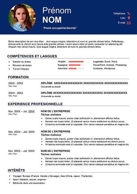 Exemple De Cv Pour Emploi by Mod 232 Le De Cv P 244 Le Emploi 224 T 233 L 233 Charger Gratuit Cr 233 Er Cv