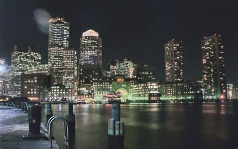 Free Boston Harbor At Night Stock Photo