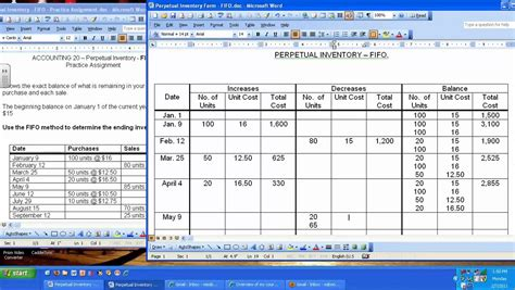 Fifo Spreadsheet Template by Perpetual Inventory Fifo