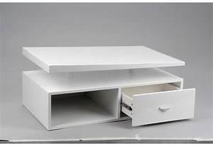 Table Basse Moderne : table basse moderne laqu e blanc avec un tiroir amadeus ~ Melissatoandfro.com Idées de Décoration