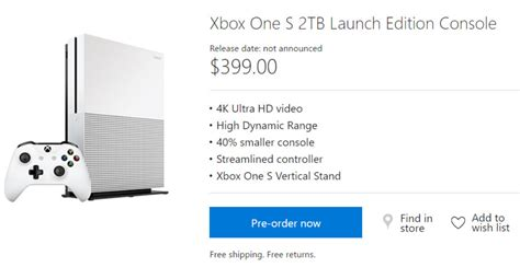 Xbox One S 2tb Launch Edition 399 Pre Order Now Live At