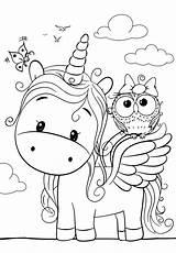 Unicorn Coloring Pages Owl Cuties раскраски категории из все sketch template