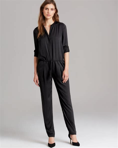 vince jumpsuit vince jumpsuit sleeve in black lyst