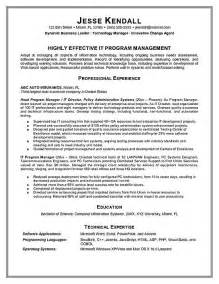 project management resume technical skills program manager resume exle