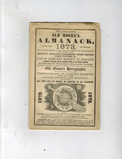 OLD MOORE'S ALMANACK, FOR THE YEAR 1873: Soft Cover (1873 ...