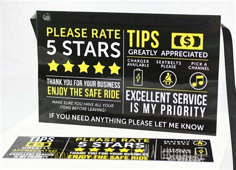 Uber Lyft Tip And Rating Sign, Rideshare, Set Of Two