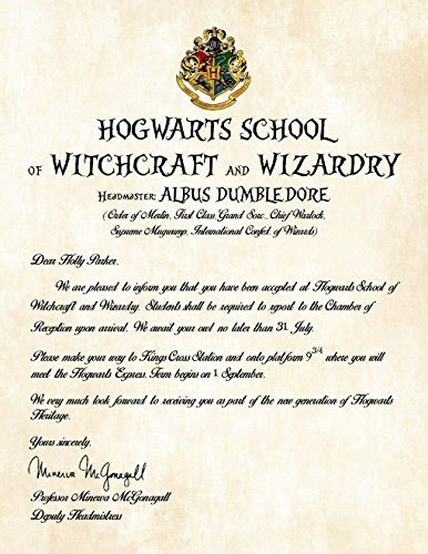 personalized harry potter acceptance letter hogwarts
